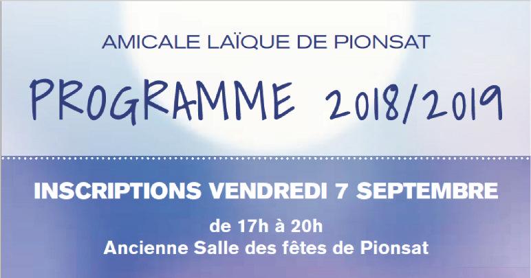 Programme 2018/2019 des activités proposées par l'Amicale Laïque de Pionsat