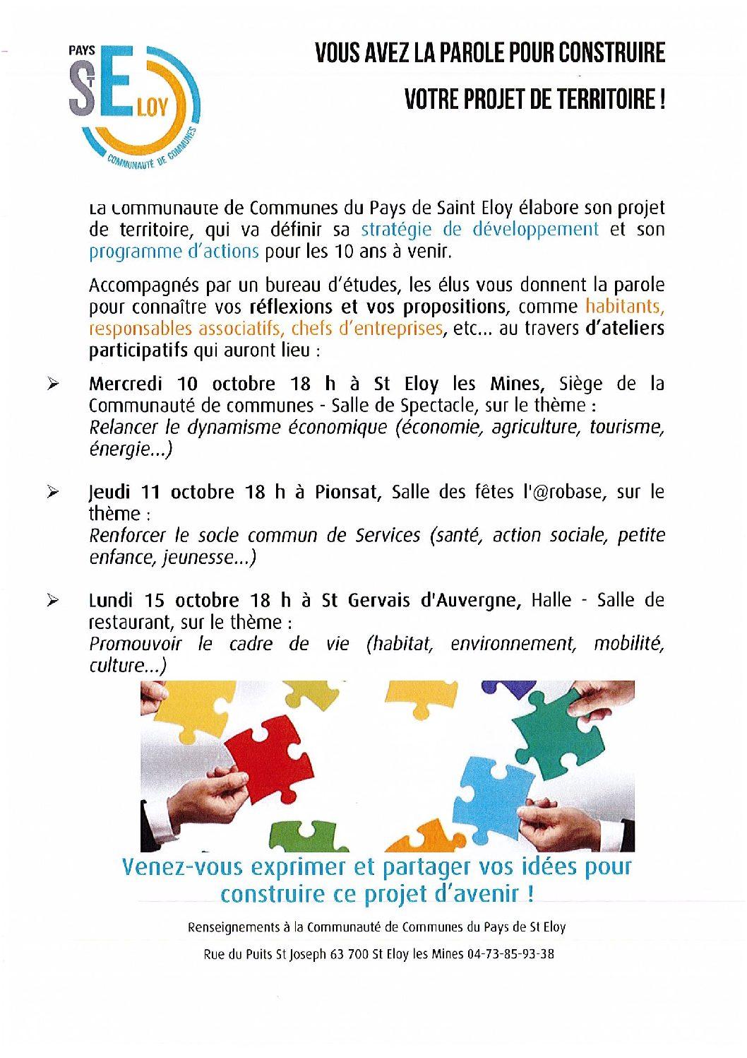 Ateliers participatifs de la Communauté de communes : stratégie de développement et programme d'actions