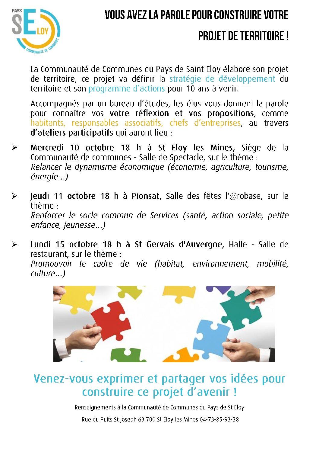 La Communauté de communes du Pays de Saint-Éloy vous donne la parole pour bâtir notre projet de territoire