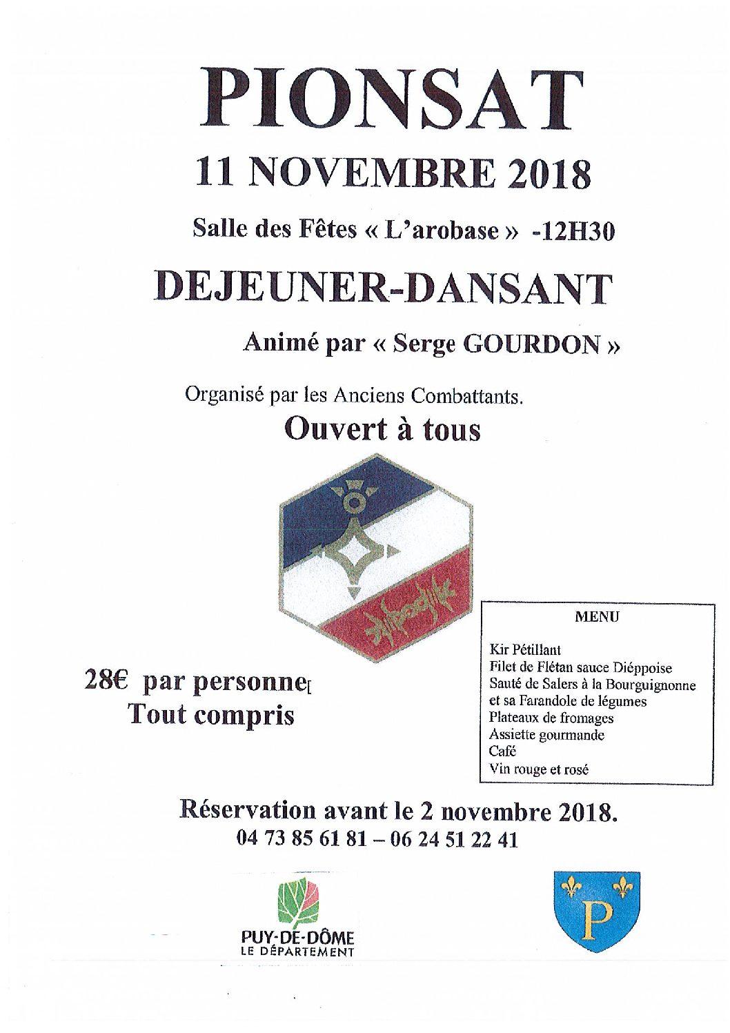 Déjeuner dansant : 11 novembre 2018