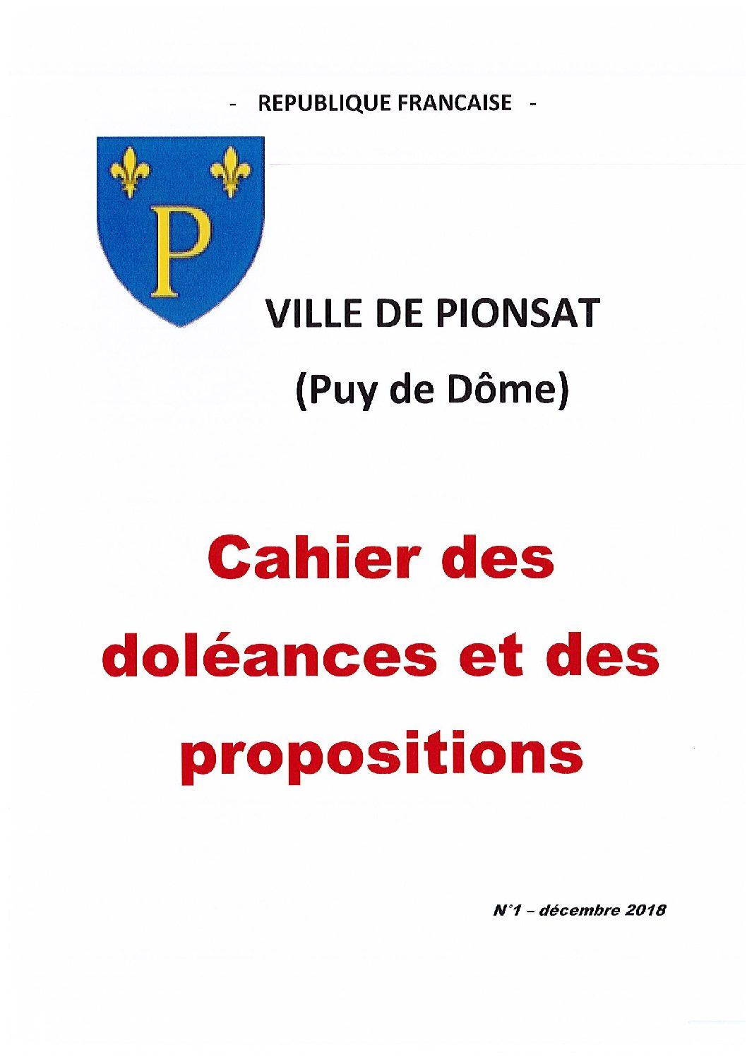 CAHIER DE DOELANCES ET DE PROPOSITIONS