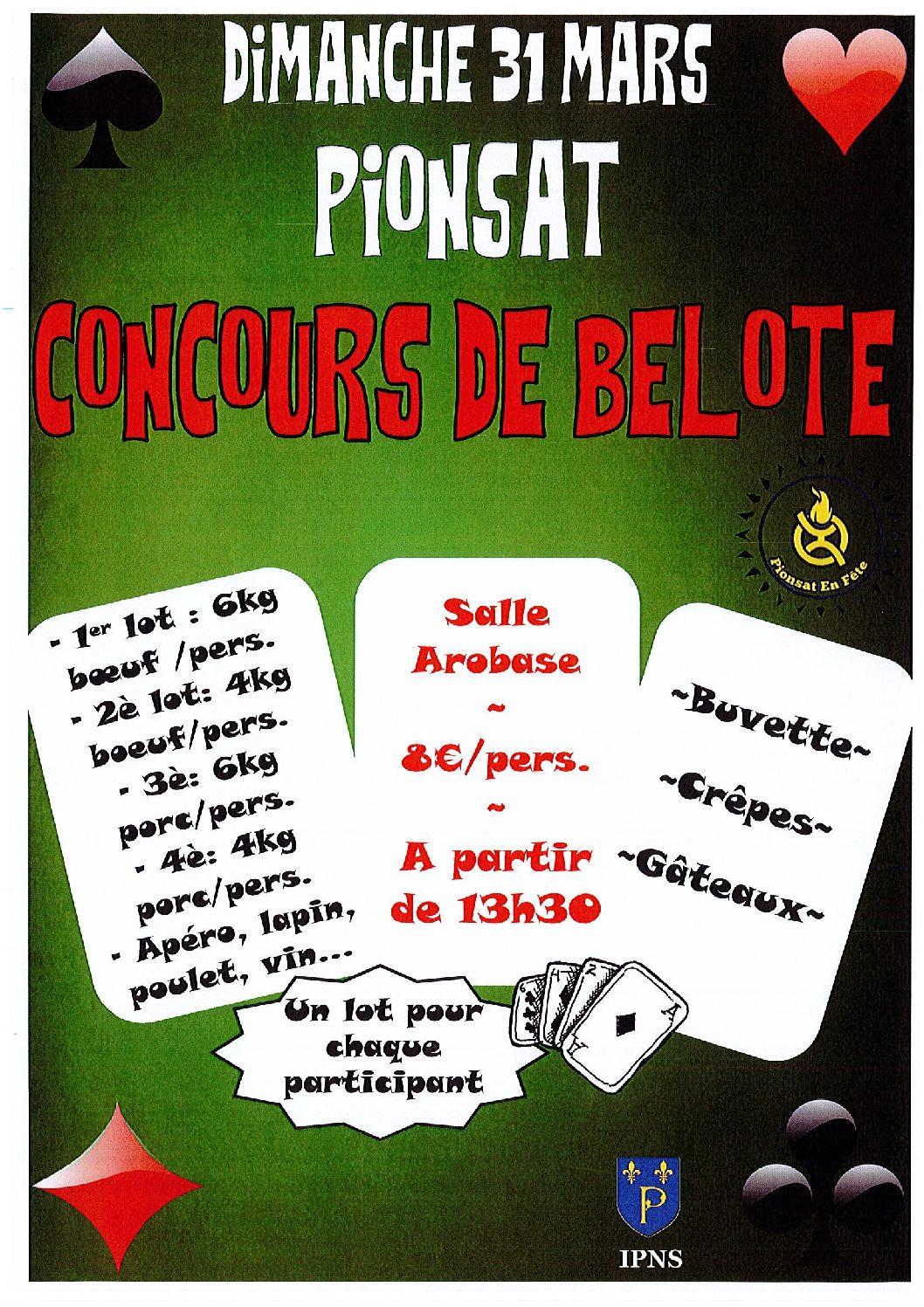 CONCOURS DE BELOTE DU 31 MARS