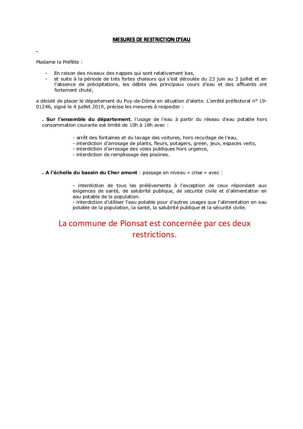 MESURE DE RESTRICTION D'EAU