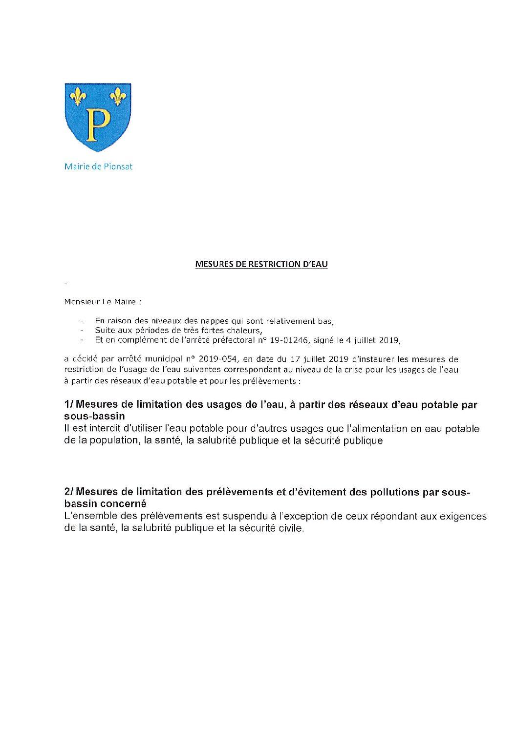 MESURES DE RESTRICTION DE L'USAGE DE L'EAU