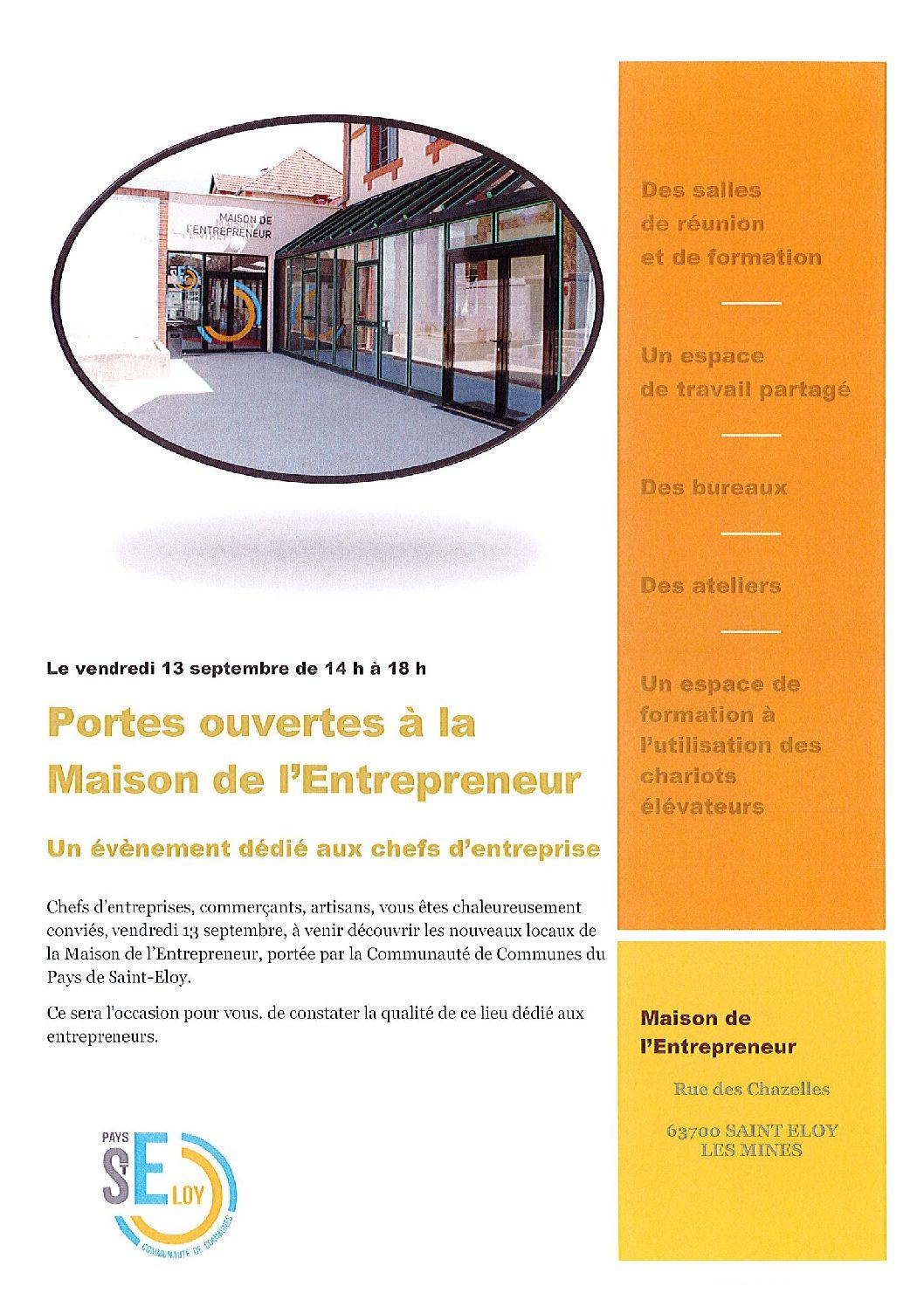 Portes ouvertes à la Maison de l'Entrepreneur