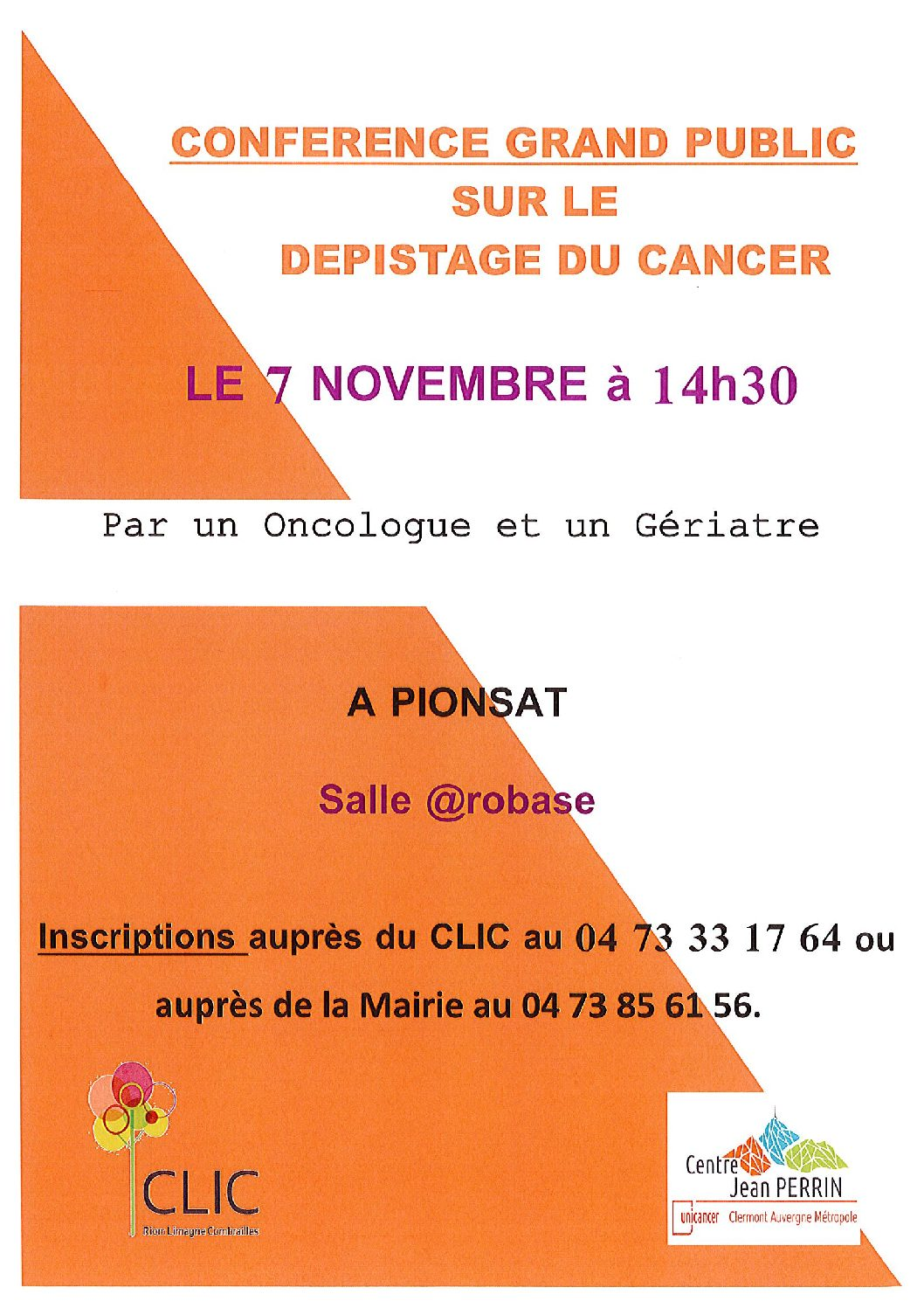 CONFERENCE DEPISTAGE DU CANCER