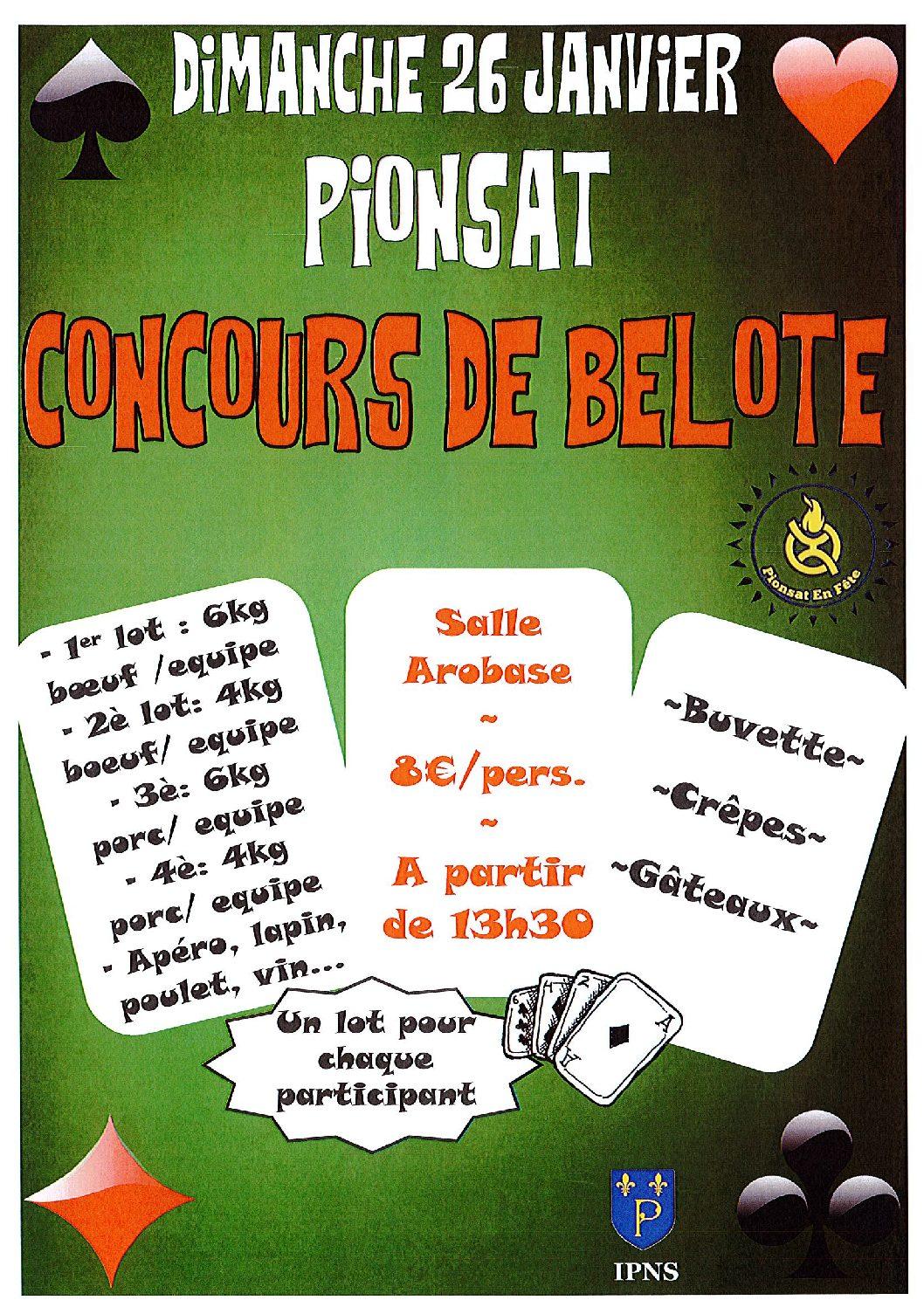 CONCOURS DE BELOTE DU 26 JANVIER 2020