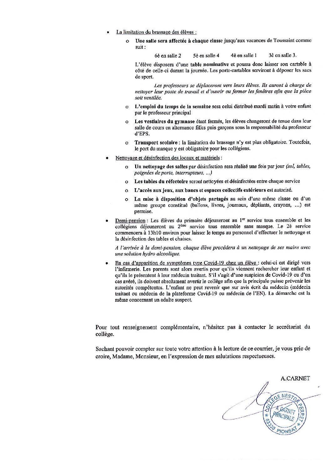 PROTOCOLE SANITAIRE RENTREE 2020 AU COLLEGE