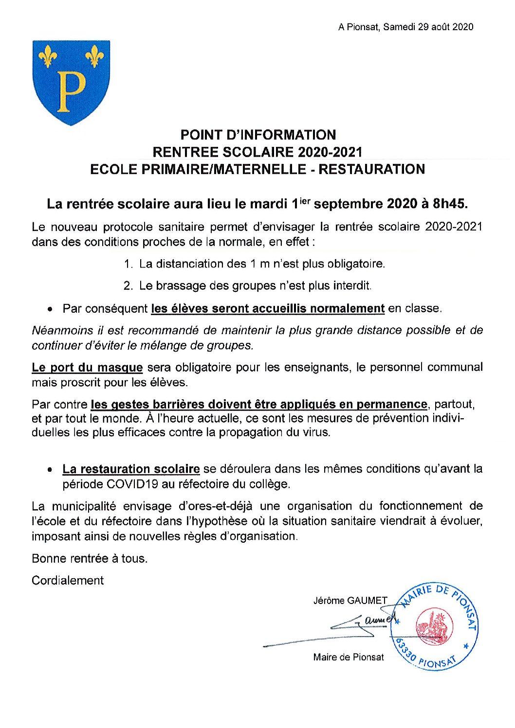 POINT INFORMATION                   RENTREE SCOLAIRE 2020-2021  ECOLE PRIMAIRE/MATERNELLE RESTAURATION