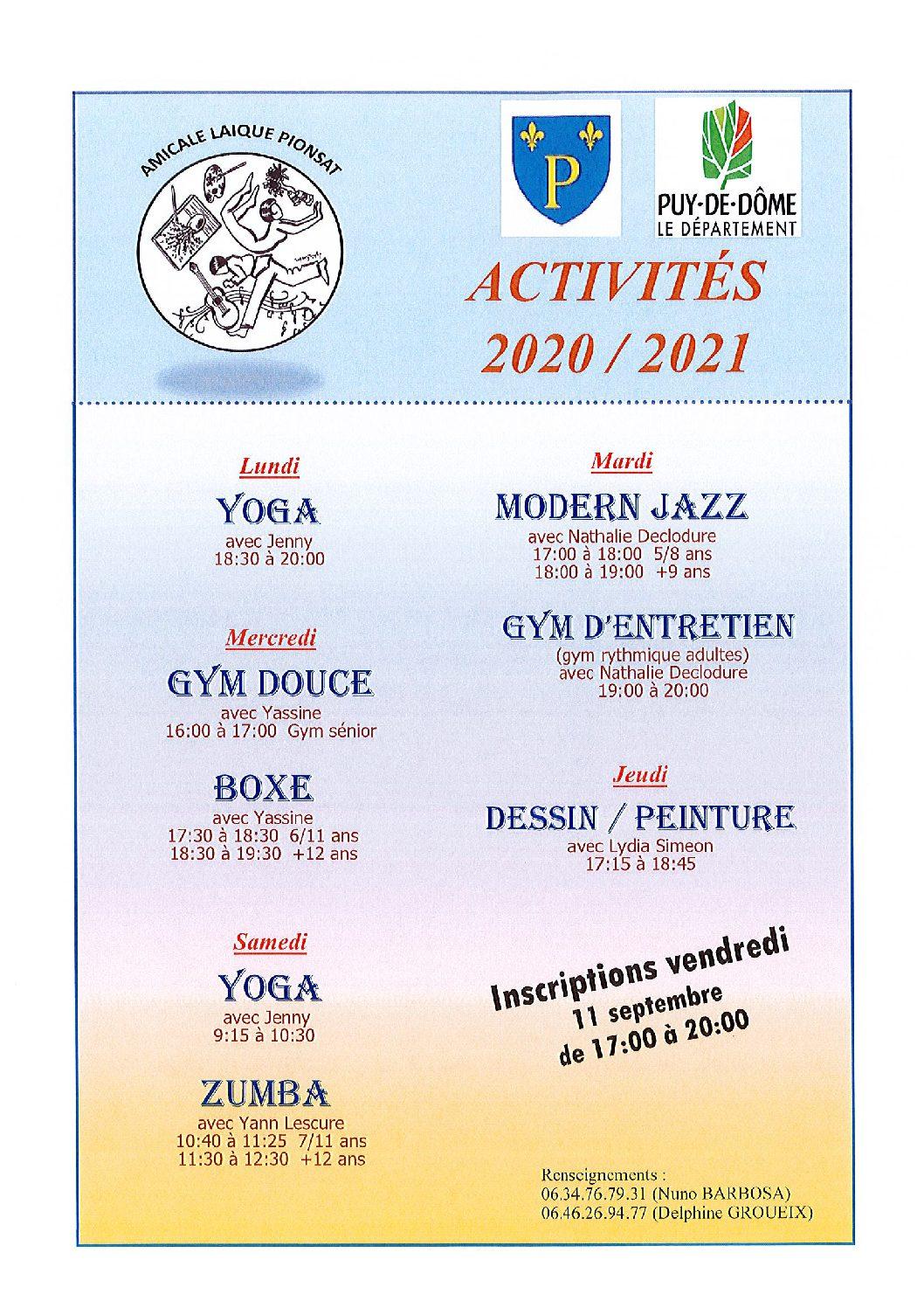 Amicale Laïque de Pionsat – activités 2020/2021