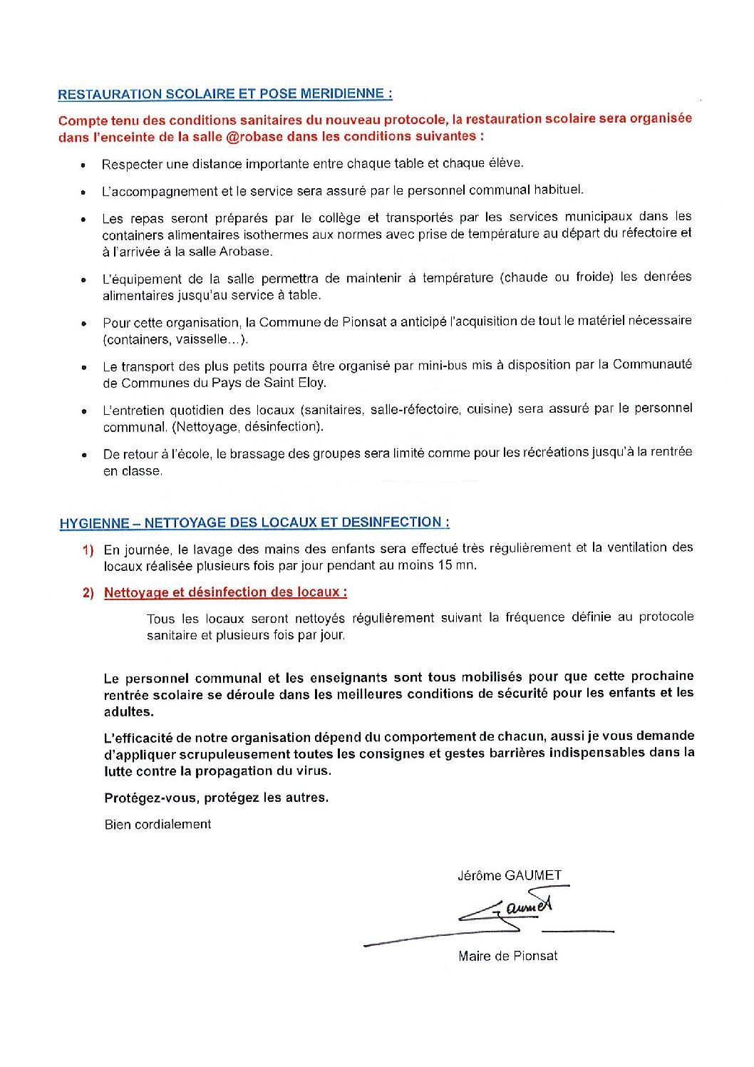 PLAN D'INFORMATION SUR LA RENTREE SCOLAIRE – NOVEMBRE 2020
