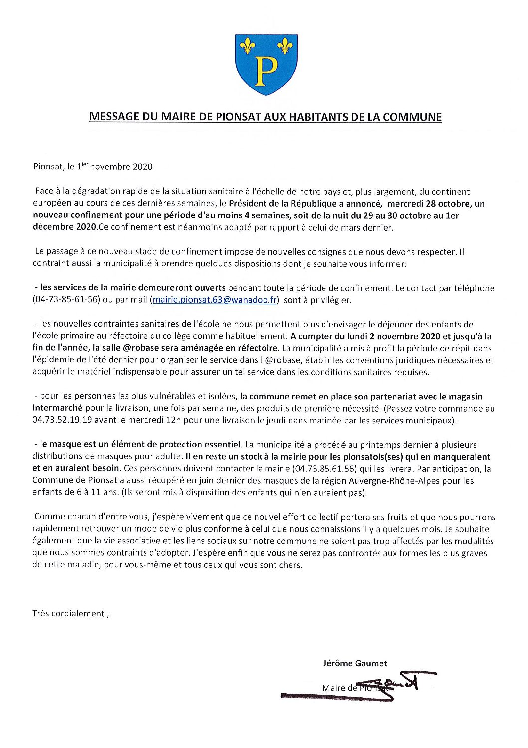 Message du Maire aux habitants