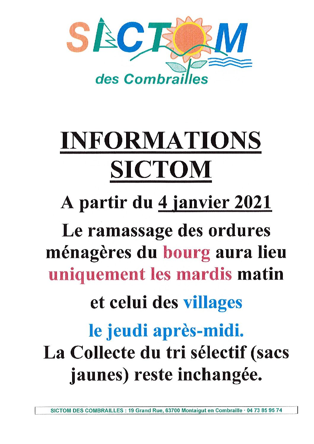 INFORMATIONS SICTOM