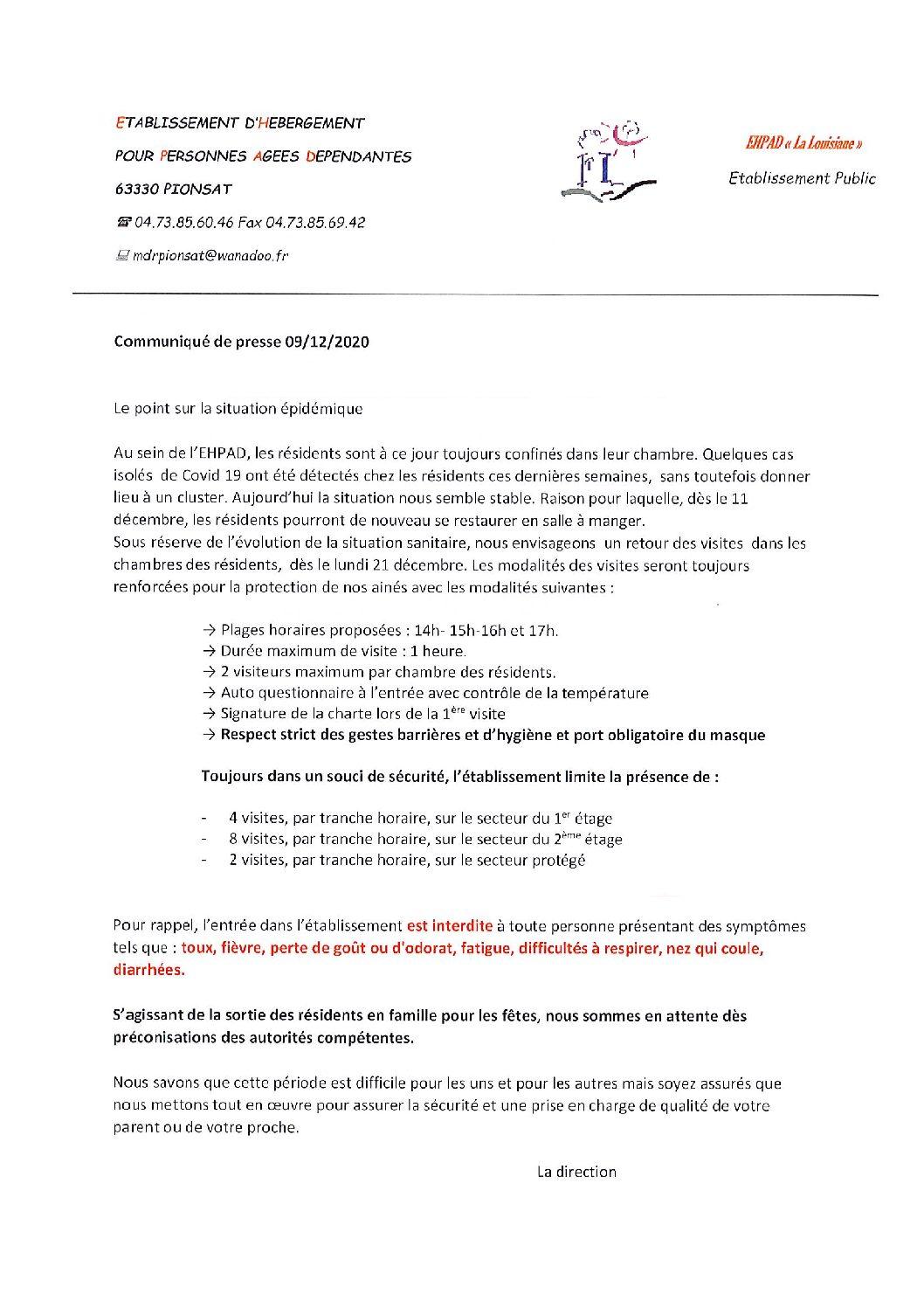 COMMUNIQUE DE L'EHPAD LA LOUISIANE