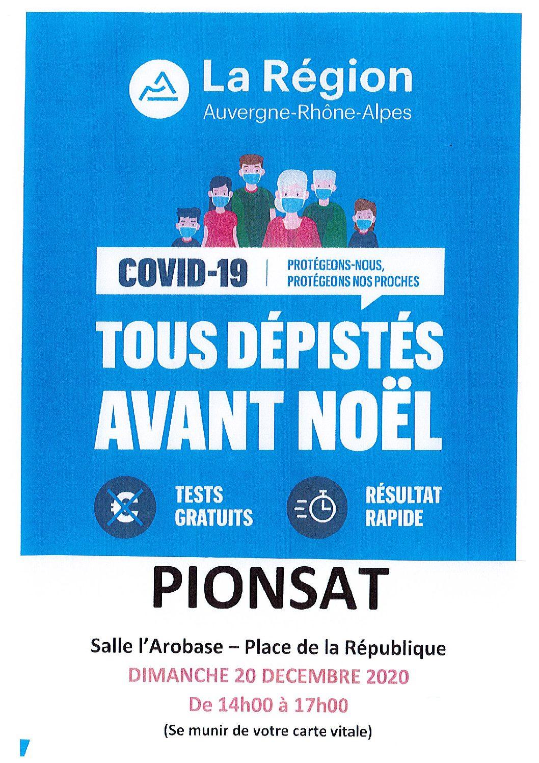 CAMPAGNE DE TESTS A PIONSAT LE DIMANCHE 20 DECEMBRE DE 14H A 17H