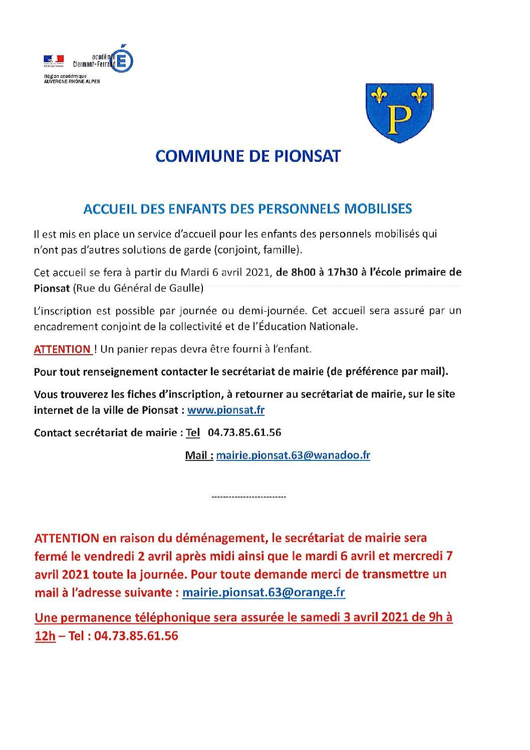 ACCUEIL DES ENFANTS DES PERSONNELS MOBILISES