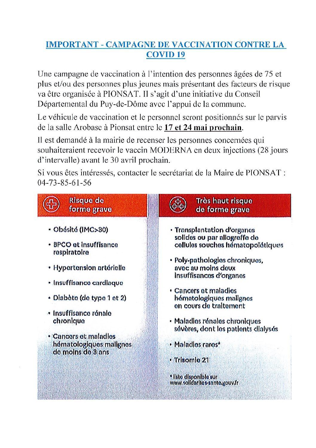 CAMPAGNE DE VACCINATION CONTRE LA COVID 19