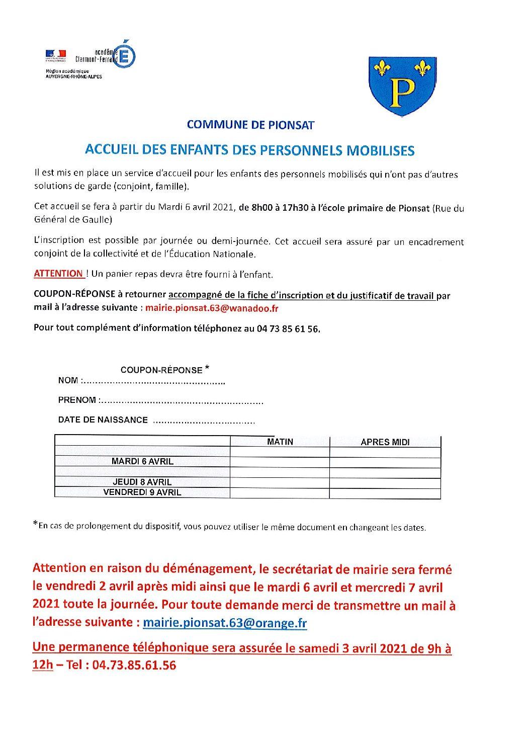 FICHE D'INSCRIPTION POUR L'ACCUEIL DES ENFANTS DES PERSONNELS MOBILISES