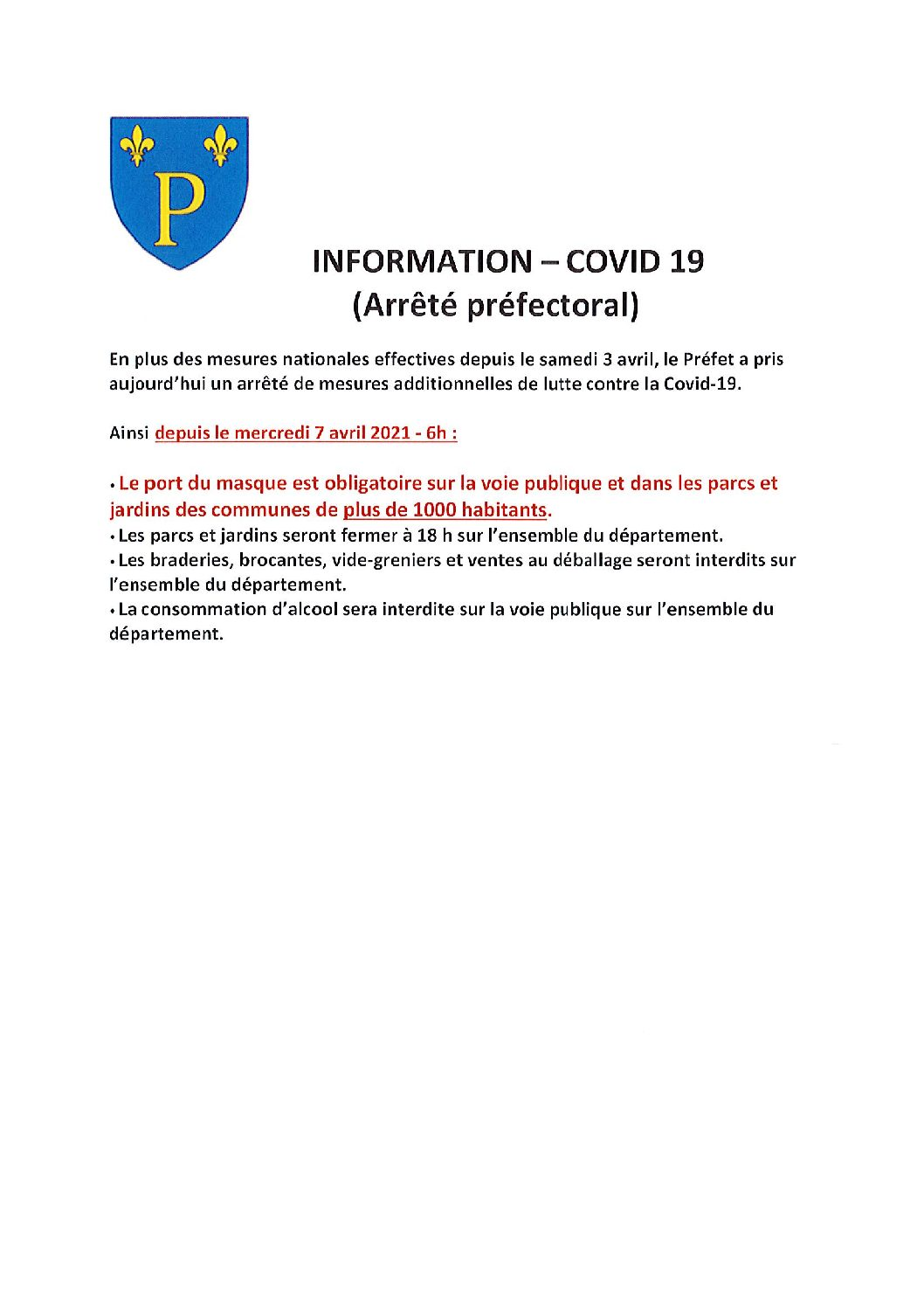 INFORMATION – COVID 19