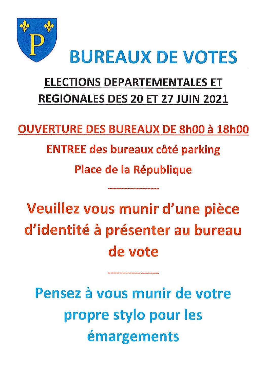 ELECTIONS BUREAUX DE VOTES