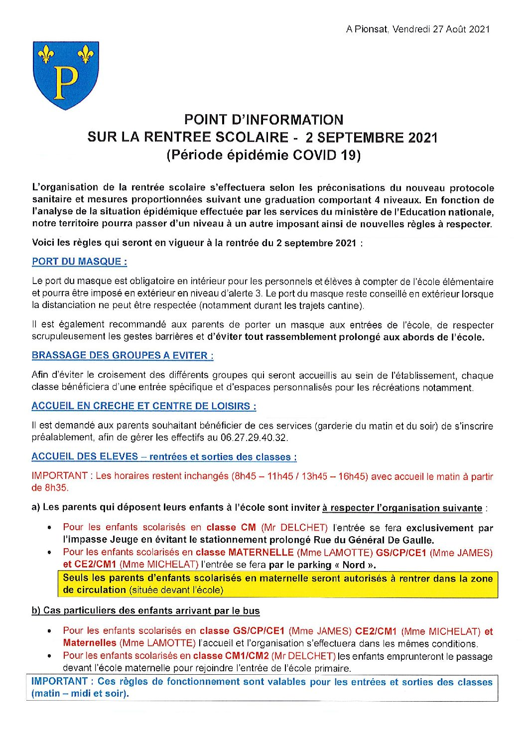 POINT INFORMATION RENTREE SCOLAIRE